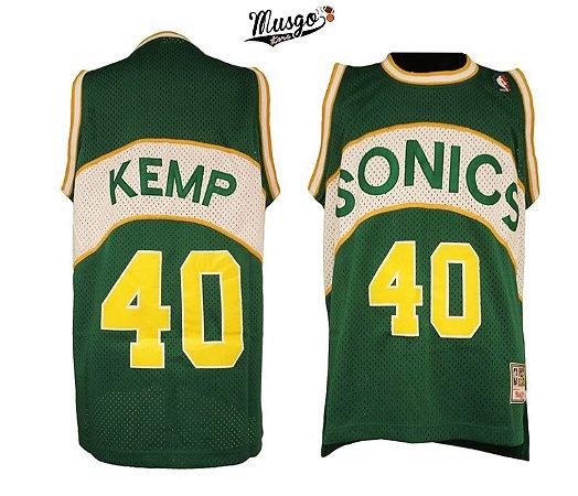 Camiseta Esportiva Regata Basquete NBA Seattle SuperSonics Shaw Kemp Número 40 verde