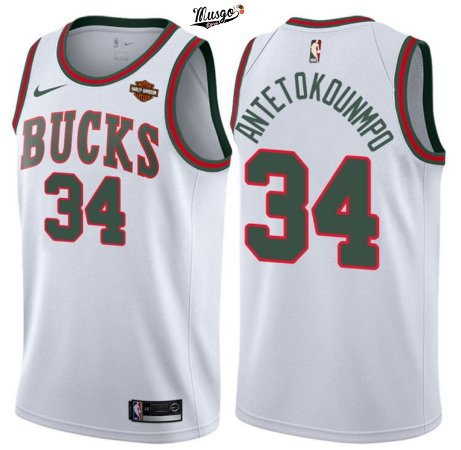 Camiseta Regata Basquete NBA Milwalkee Bucks Giannis Antetonkunmpo #34 Retro Branca