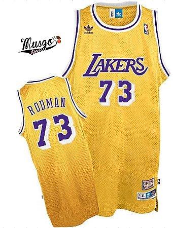 Camiseta Esportiva Regata Basquete NBA Los Angeles Lakers Dennis Rodman Numero 73 Amarela