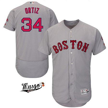 Camisa Esportiva Baseball MLB Boston Red Sox David Ortiz Número 34 Cinza