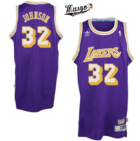 Camiseta Regata Esportiva Basquete NBA Los Angeles Lakers Magic Johnson Numero 32 Roxa