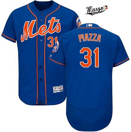 Camisa Esportiva Baseball MLB New York Mets Frank Piazza numero 31 Azul
