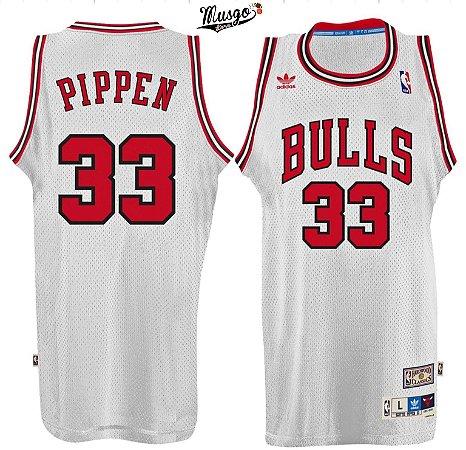 Camiseta Esportiva Regata Basquete NBA Chicago Bulls Scottie Pippen Numero 33 Branca