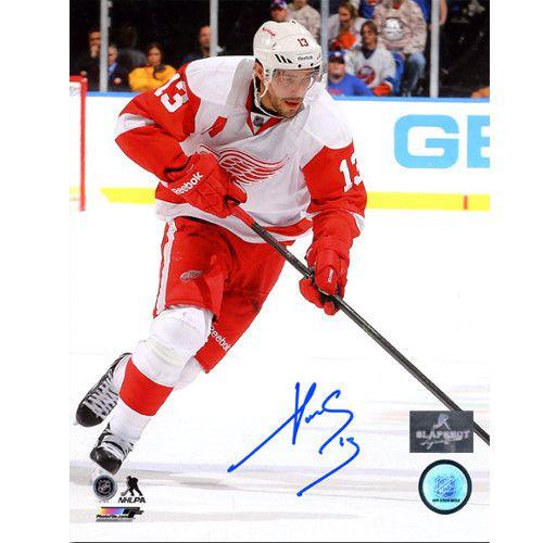 Camisa Esportiva Hockey NHL Detroit Red Wings Pavel Datsyuk Numero 13 Branca
