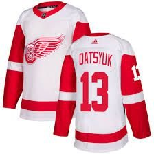 Camisa Esportiva Hockey NHL Detroit Red Wings Pavel Datsyuk Numero 13 Branca