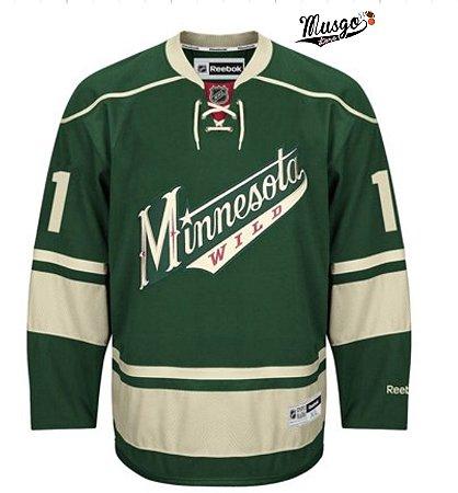 Camisa Esportiva Hockey NHL Minnesota Wild Zach Parise Numero 11 Verde