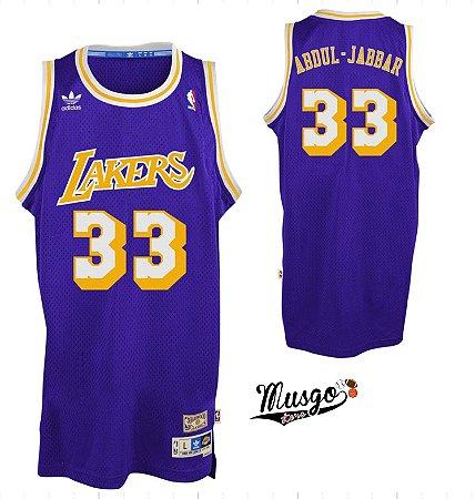 Camiseta Regata Esportiva Basquete NBA Los Angeles Lakers Kareen Abdul Jabbar Numero 33 Roxa