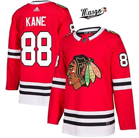 Camisa Esportiva Hockey NHL Chicago Blackhawks Patrick Kane Numero 88 Vermelha