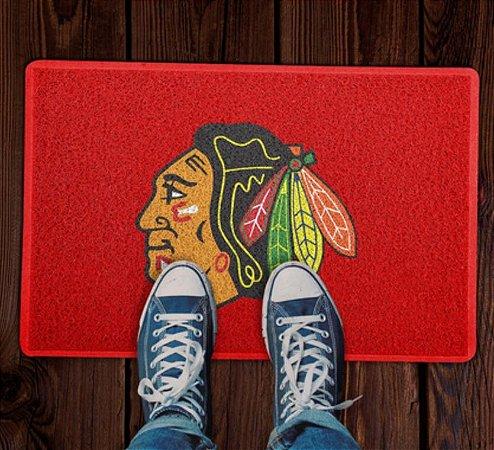 Tapete Capacho Esporte Hockey NHL Chicago Blackhawks  Vermelho