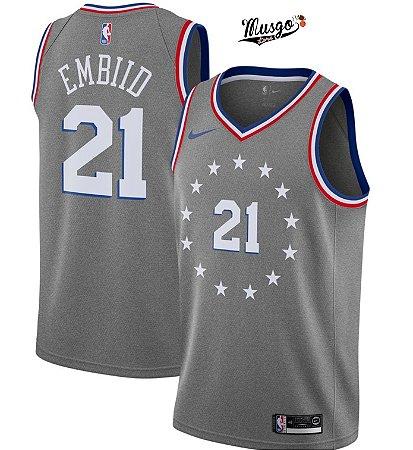 Camiseta Regata Basquete NBA Philadelphia 76ers City Edition Joel Embiid Cinza