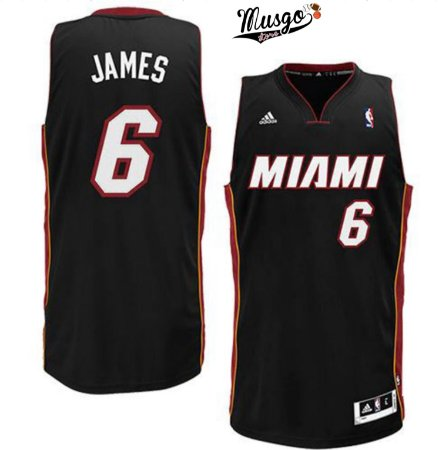 Camiseta Esportiva Regata Basquete NBA Miami Heat Lebron James Numero 6 Preta