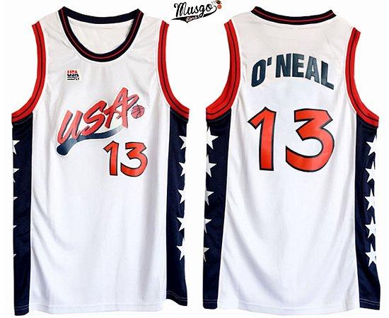 Camiseta Regata Basquete Seleção Americana Atlanta 1996 Shaq O'neal Número 13 Branca