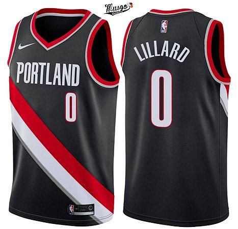 Camiseta Regata Basquete NBA Portland Trail Blazers Lillard #0 Preta Nova