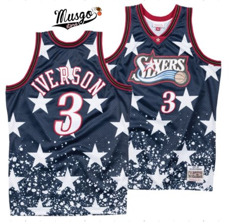Camiseta Esportiva Regata Basquete Philadelphia 76ers Edição 4 de Julho Allen Iverson Numero 3 Estrelada