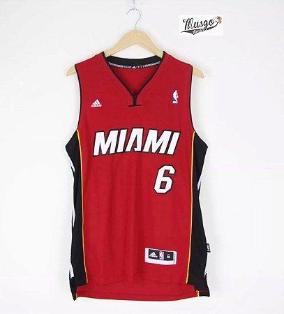 Camiseta Regata Basquete NBA Miami Heat Lebron James Número 6 Vermelha