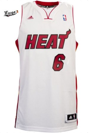 Camiseta Esportiva Regata Basquete NBA Miami Heat Lebron James Número 6 Branca