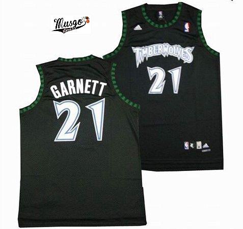 Camiseta Regata Esportiva Basquete NBA Minnesota Timberwolves Kevin Garnett Número 21 Preta