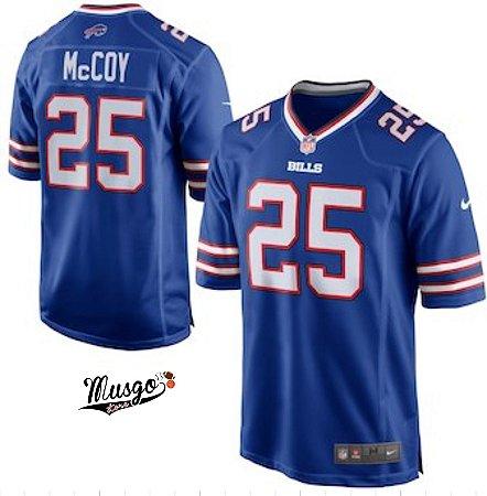 Camisa Esportiva Futebol Americano NFL Búfalo Bills Lesean Mccoy Número 25 Azul