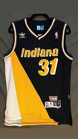 Camiseta Regata Basquete NBA Indiana Pacers Reggie Miller Número 31 Tricolor