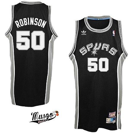 Camiseta Regata Esportiva Basquete NBA San Antônio Spurs David Robinson Número 50 Preta