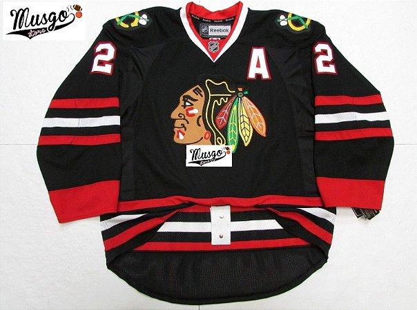 Camisa Esportiva Hockey NHL Chicago Blackhawks Duncan Keith Número 2 Preta