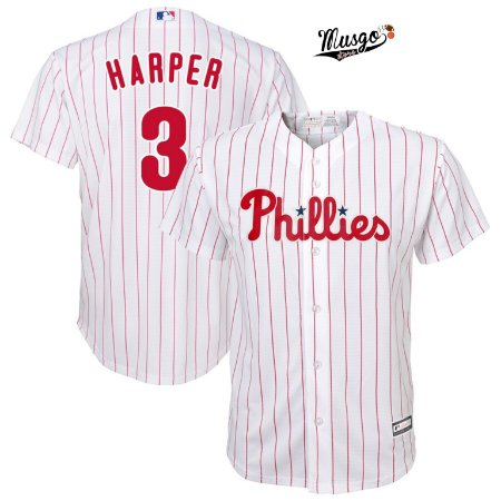 Camisa Esportiva Baseball MLB Philadelphia Phillies Bryce Harper Número 3 Branca Listrada