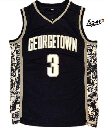Camiseta Regata Esportiva Basquete Universitário Georgetown Allen Iverson Número 3 Azul