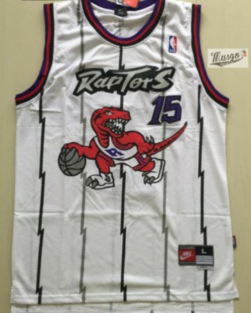 Camiseta Esportiva Regata Basquete NBA Toronto Raptors Vince Cárter Número 15 Branca Classics