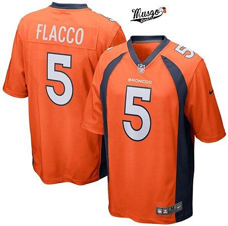 Camisa Esportiva Futebol Americano NFL Denver Broncos Joe Flacco Número 5 Laranja