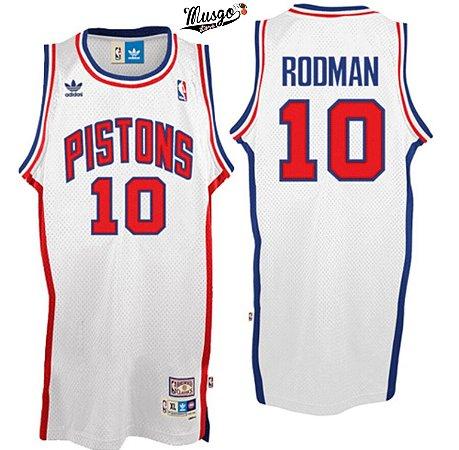 Camiseta Esportiva Regata Basquete NBA Detroit Pistons Bad Boys Número 10 Branca