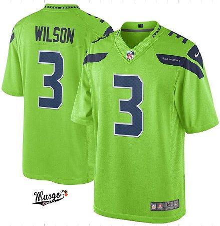 Camisa Esportiva Futebol Americano NFL Seattle Seahawks Russel Wilson Número 3 Verde Limão