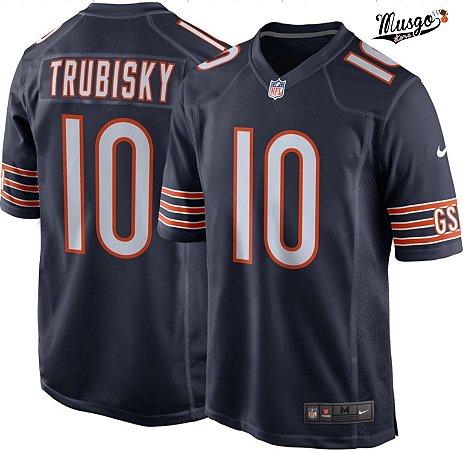 Camisa Esportiva Futebol Americano NFL Chicago Bears Mitch Trubisky Número 10 Azul