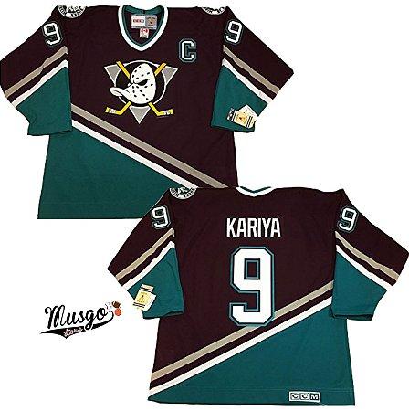 Camisa Esportiva Hockey Super Patos Clássica Paul Kariya Número 9 Preta