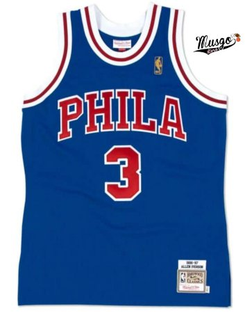 Camiseta Regata Esportiva Basquete NBA Philadelphia 76ers Allen Iverson Número 3 Azul Classics