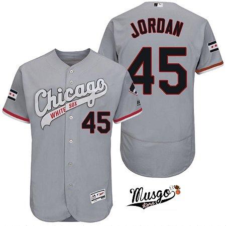 Camisa Esportiva Baseball MLB Chicago White Sox Michael Jordan Número 45 Cinza