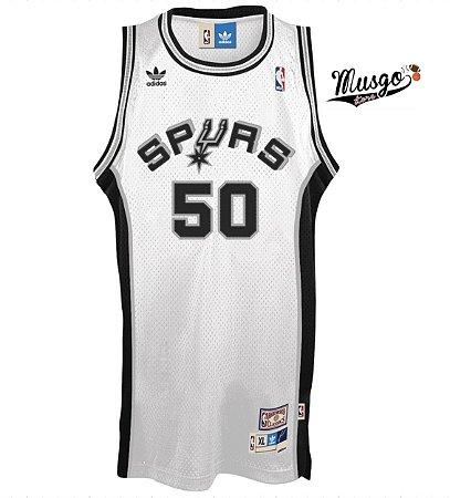 Camiseta Regata Esportiva Basquete NBA San Antônio Spurs David Robinson Número 50 Branca