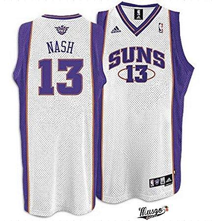 Camiseta Esportiva Regata Basquete NBA Phoenix Suns Steve Nash número 13 Branca