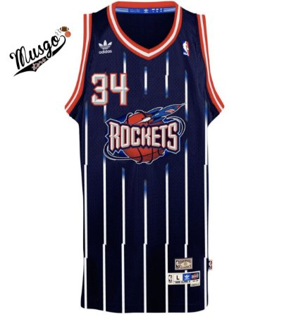 Camiseta Regata Esportiva Basquete NBA Hoston Rockets Hakeen Olajuwon Número 34  azul Listrada