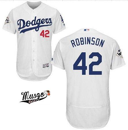 Camisa Esportiva Baseball MLB Los Angeles Dodgers Jackie Robinson Número 42 Branca
