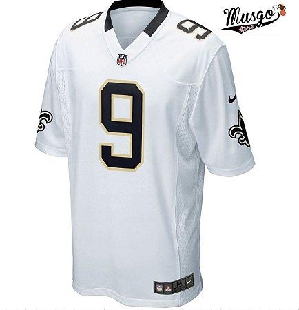 Camisa esportiva Futebol Americano NFL New Orleans Saints Drew Brees Número 9 Branca