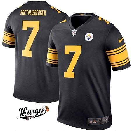 Camisa Esportiva Futebol Americano NFL Pittsburgh Steelers Big Ben Número 7 Preta Color Rush