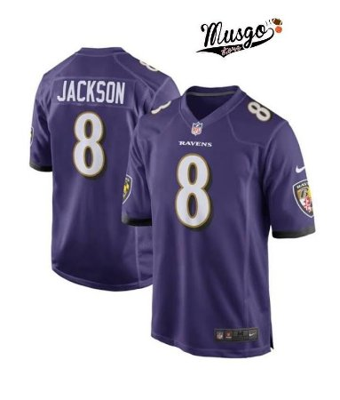 Camisa Esportiva Futebol Americano NFL Baltimore Ravens Lamar Jackson Número 8 Roxa