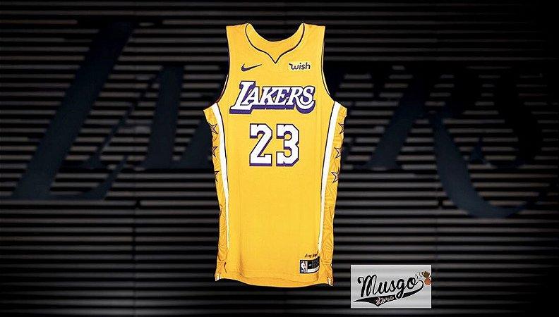 Camiseta Regata Esportiva Basquete NBA Los Angeles Lakers Lebron James Numero 23 City Edition Amarela