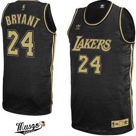 Camiseta Regata Esportiva Basquete NBA Los Angeles Lakers Kobe Bryant Numero 24 Black Ediiton