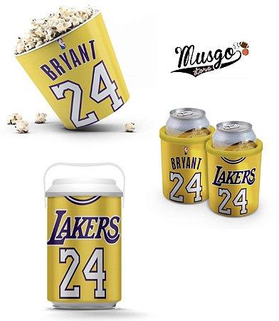Combo Lanche Basquete Los Angeles Lakers Kobe Bryant Numero 24 Amarelo
