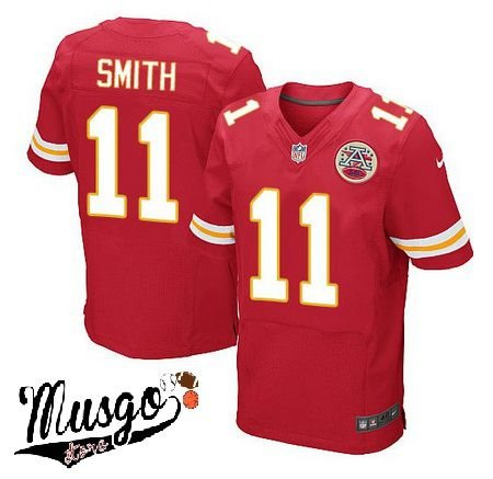 Camisa Esportiva Futebol Americano NFL Kansas City Chiefs Alex Smith Numero 11 Vermelha