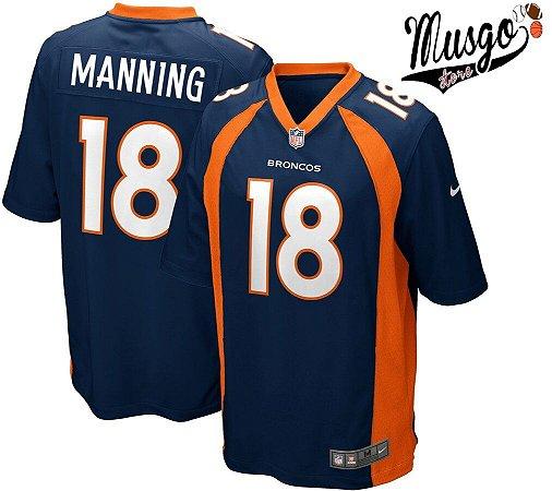 Camisa Esportiva Futebol Americano NFL Denver Broncos Payton Manning Numero 18 Azul