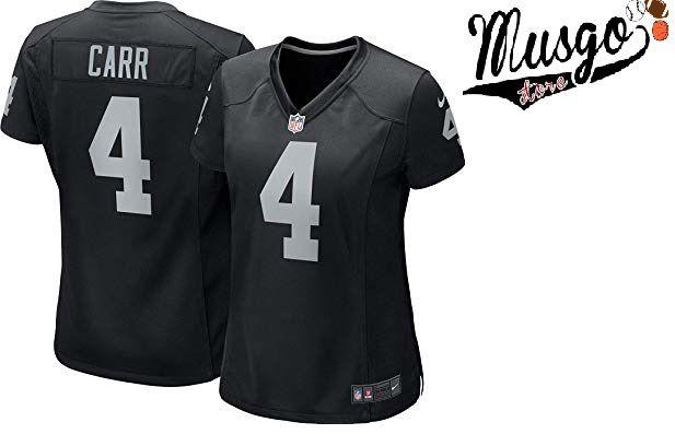 Camisa Esportiva Futebol Americano NFL Oakland Raiders Derek Carr Feminina Numero 4 Preta