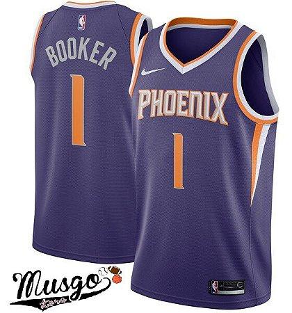 Camiseta Esportiva Regata Basquete NBA Phoenix Suns Devon Booker Numero 1 Roxa