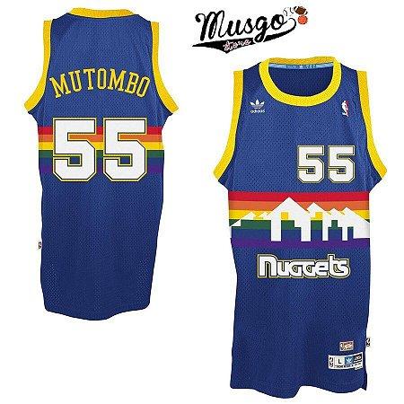 Camiseta Esportiva Regata Basquete NBA Denver Nuggets Dikembe Mutombo Numero 55 Azul